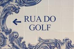 Nome da rua no estilo português do mosaico Imagens de Stock Royalty Free