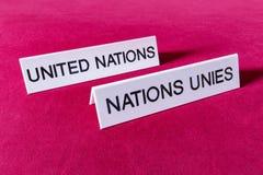 Nome del ` s dell'etichetta delle nazioni unite Fotografia Stock Libera da Diritti