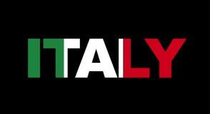 Nome dell'Italia con la bandierina Fotografia Stock