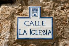 Nome della via - Alquezar - Spagna Fotografia Stock