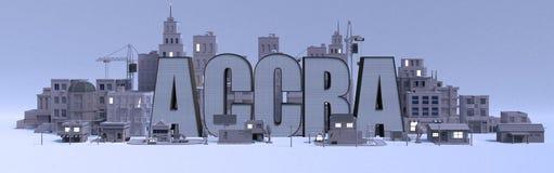 Nome di iscrizione di Accra, città della rappresentazione 3d con le costruzioni grige illustrazione vettoriale