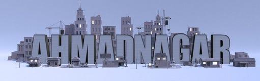 Nome di iscrizione di Ahmadnagar, città con le costruzioni grige illustrazione vettoriale