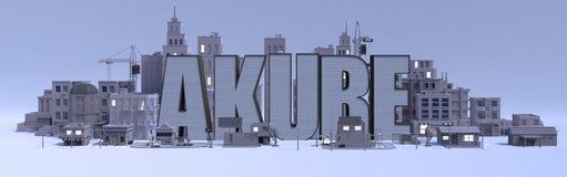 Nome di iscrizione di Akure, città con le costruzioni grige illustrazione vettoriale