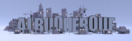 Nome di iscrizione di Albuquerque, città con le costruzioni grige illustrazione di stock