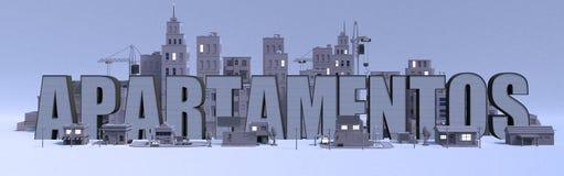 nome di iscrizione di apartamentos, città della rappresentazione con le costruzioni grige illustrazione vettoriale