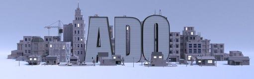 Nome di iscrizione di difficoltà, città con le costruzioni grige illustrazione vettoriale