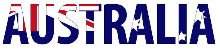Nome e bandeira de Austrália Fotos de Stock Royalty Free