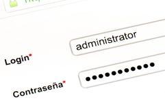 Nome e senha Imagem de Stock