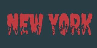 Nome e silhuetas de New York City neles ilustração do vetor