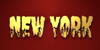 Nome e silhuetas de New York City neles ilustração stock