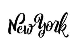 Nome escrito à mão da cidade caligrafia da Mão-rotulação New York han ilustração do vetor