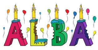Nome fêmea alba bolo de aniversário colorido mordido da rotulação 3d com velas e balões ilustração stock