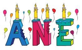 Nome fêmea Ane bolo de aniversário colorido mordido da rotulação 3d com velas e balões ilustração royalty free