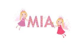 Nome fêmea de Mia com fada bonito ilustração do vetor