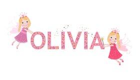 Nome fêmea de Olivia com fada bonito ilustração do vetor
