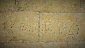 Nome gravado nas paredes do castelo de Chambord, região de Loire imagem de stock