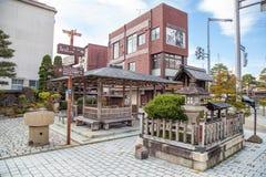 Nome locale Jinya-Mae del mercato in Takayama, Giappone fotografie stock