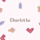 Nome senza cuciture Charlotte del modello del fondo del neonato Bambino Charlotte di nome Nome senza cuciture Charlotte Vettore d Immagine Stock
