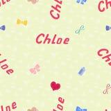 Nome senza cuciture Chloe del modello del fondo del neonato Fotografia Stock