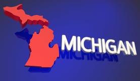 Nome vermelho da palavra do MI do mapa do estado de Michigan Foto de Stock