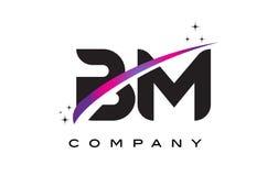 Nomenclature B M Black Letter Logo Design avec le bruissement magenta pourpre Images libres de droits