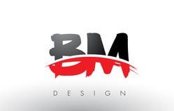 Nomenclature B M Brush Logo Letters avec l'avant de brosse de bruissement de rouge et de noir illustration stock