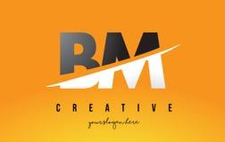 Nomenclature B M Letter Modern Logo Design avec le fond jaune et le Swoo illustration stock