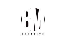 Nomenclature B M White Letter Logo Design avec le fond de cercle Photo libre de droits