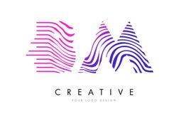Nomenclature B M Zebra Lines Letter Logo Design avec des couleurs magenta Photos stock