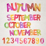 Nomes da aquarela do vetor da estação do outono Foto de Stock