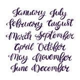 Nomes do mês do ano Imagens de Stock Royalty Free