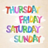Nomes dos dias do grupo da aquarela da semana Fotos de Stock Royalty Free
