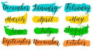 Nomes escritos à mão dos meses dezembro, janeiro, fevereiro, março, abril, maio, junho, julho, August September October November ilustração royalty free