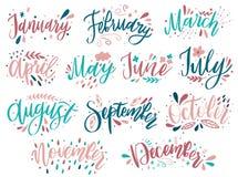 Nomes escritos à mão dos meses: dezembro, janeiro, fevereiro, março, abril, maio, junho, julho, August September October November ilustração do vetor