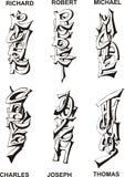 Nomes masculinos estilizados ilustração stock