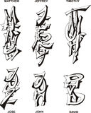Nomes masculinos estilizados Imagem de Stock