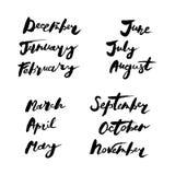Nomi scritti a mano dei mesi royalty illustrazione gratis