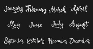Nomi scritti a mano dei mesi dicembre, gennaio, febbraio, marzo, aprile, maggio, giugno, luglio, augusto, settembre, ottobre, nov Fotografie Stock