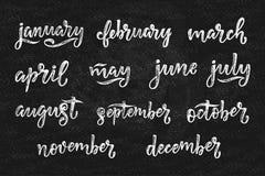 Nomi scritti a mano dei mesi dicembre, gennaio, febbraio, marzo, aprile, maggio, giugno, luglio, augusto, settembre, ottobre, nov Immagine Stock Libera da Diritti