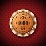 Nominal de la ficha de póker, mil en fondo del símbolo de la tarjeta Imagen de archivo libre de regalías