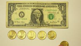 Nominalwert mit 7 Goldmünzen von 10 Rubeln pro 1 US-Dollar Rate mit Währungszeichen auf einem weißen Hintergrund stock footage