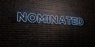 NOMINATED -Realistic Neon Sign on Brick Wall background - 3D rendered royalty free stock image. Can be used for online banner ads and direct mailers Royalty Free Stock Image