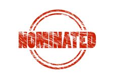 Nominated red rubber stamp Stock Photo
