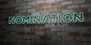 NOMINATION - Glowing Neon Sign on stonework wall - 3D rendered royalty free stock illustration. Can be used for online banner ads and direct mailers Royalty Free Stock Photos
