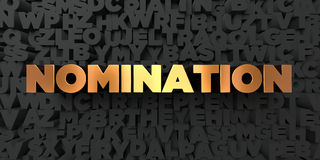 Nomination - Gold text on black background - 3D rendered royalty free stock picture. This image can be used for an online website banner ad or a print postcard Stock Photos