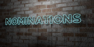 NOMINATIONS - Glowing Neon Sign on stonework wall - 3D rendered royalty free stock illustration. Can be used for online banner ads and direct mailers Royalty Free Stock Photo