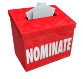 Nomini il candidato la scatola di suggerimento che presenta la domanda Considerati Fotografie Stock