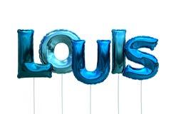 Nommez Louis fait de ballons gonflables bleus d'isolement sur le fond blanc Photographie stock libre de droits