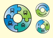 Nomogramm mit Leuten, Benennung und Ikonen Lizenzfreie Stockbilder