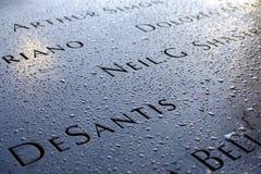Noms au mémorial de 9/11 Photographie stock